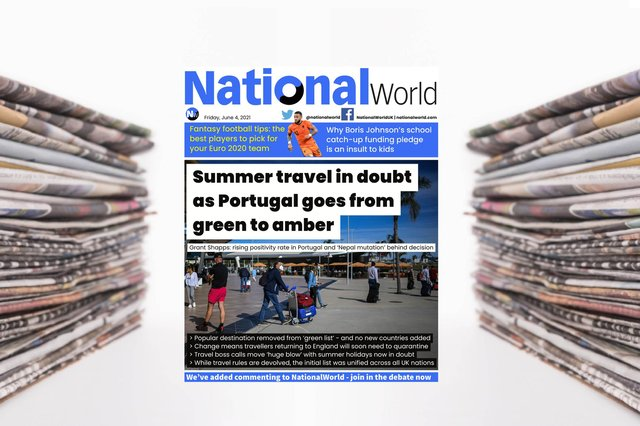 The digital front page of NationalWorld for 4 June