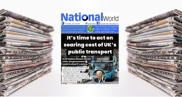 The UK's rising public transport costs ahead of the G7 leads tomorrow's digital front page