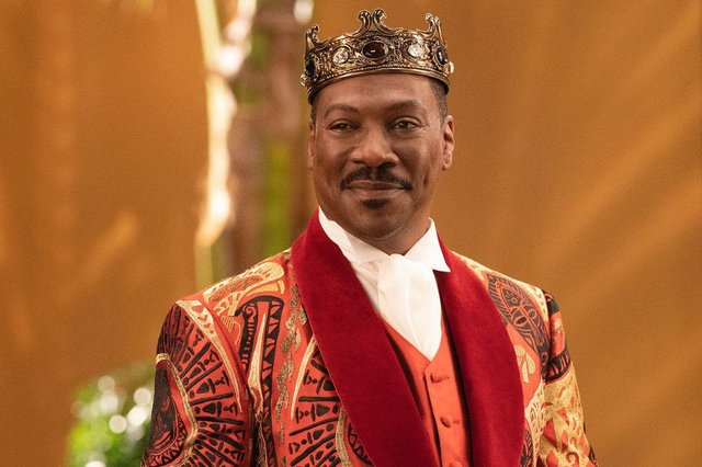 Eddie Murphy stars as King Akeem Joffer - and Randy Watson and Mr Clarence and Saul - in Coming 2 American (Photo: Amazon Studios)