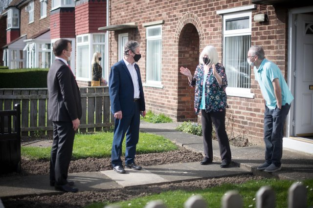 Labour leader Sir Keir Starmer meets local people in Seaton Carew in County Durham during a day of campaigning for the Hartlepool by-election with the party's candidate, Dr Paul Williams (Photo: PA)