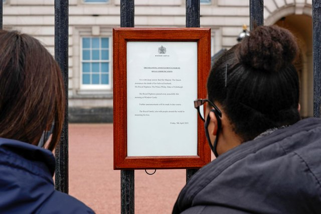 Prince Philip: Duke of Edinburgh's death confirmed with traditional notice outsideBuckingham Palace (Photo by John Phillips/Getty Images)