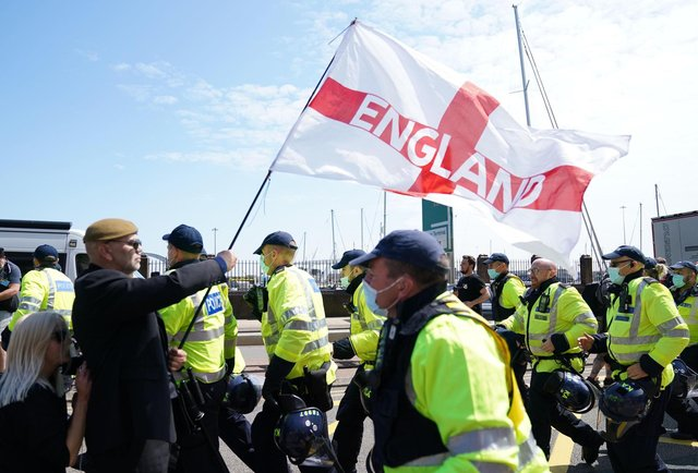 English nationalists protested against allowing migrants - many of them fleeing war-torn countries - into the UK (PA)