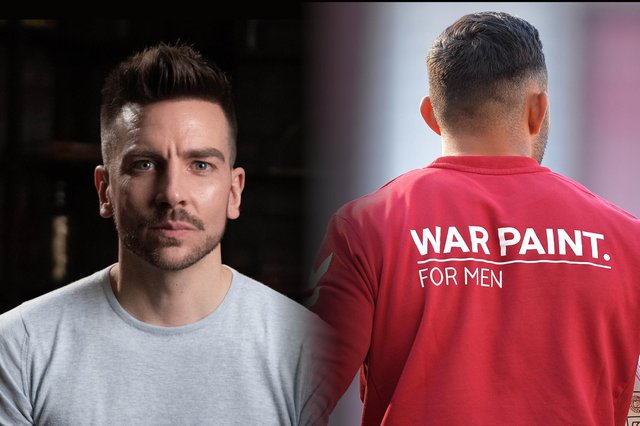 After recognising the need for a makeup brand that was tailored to men, Danny developed his own company, War Paint, which launched in 2018 (Graphic: Kim Mogg)