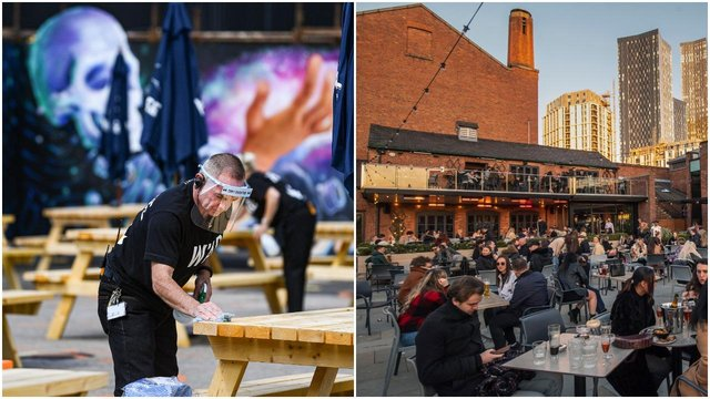 Pub owners in Scotland are preparing to reopen to customers, while venues in England are back open for business (left) (Getty Images)