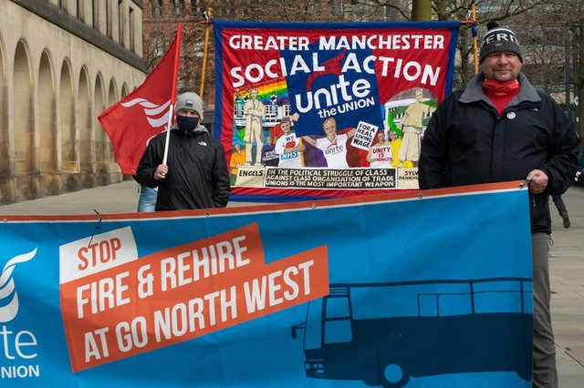 Strike action against Go North West over fire and rehire ends with workers' victory (Photo: Shutterstock/John B Hewitt)