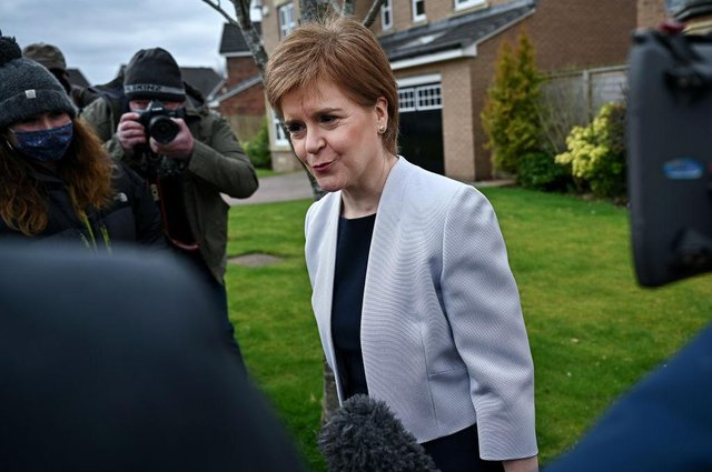 Nicola Sturgeon leaves her home on March 22, 2021 in Glasgow, Scotland (Photo by Jeff J Mitchell/Getty Images)