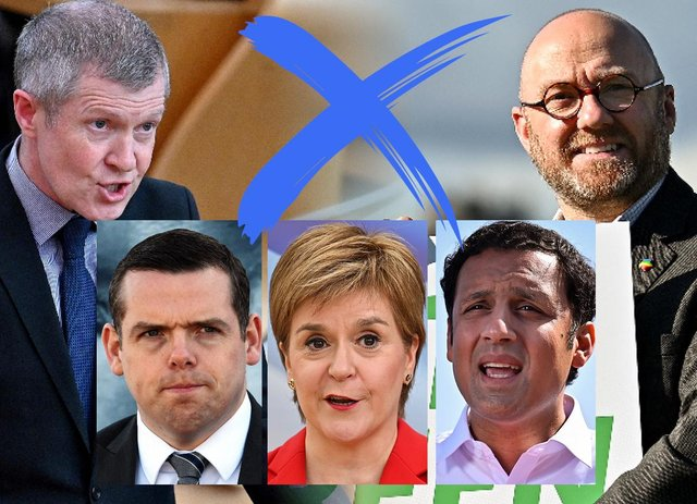 The five leaders of Scotland's main political parties (Credit: Mark Hall)
