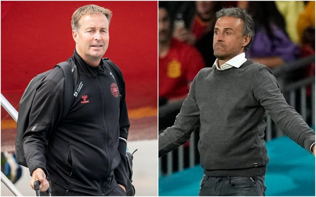 Denmark manager Kasper Hjulmand and Spain boss Luis Enrique. (Pic: Getty)