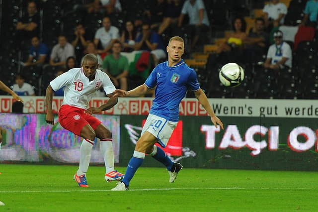England striker Jermain Defoe scores the second goal in a 2-1 win over Italy in an international friendly match held in Switzerland on 15 August 2012. (Pic: Getty)