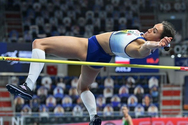 Holly shows her quality in the high jump leg in Women's Pentathlon during the European Athletics Indoor Championships in Poland earlier this month.