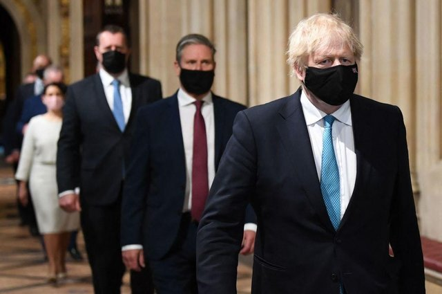Boris Johnson and Keir Starmer during the socially distanced State Opening of Parliament at the Houses of Parliament on 11 May (Photo: STEFAN ROUSSEAU/POOL/AFP via Getty Images)