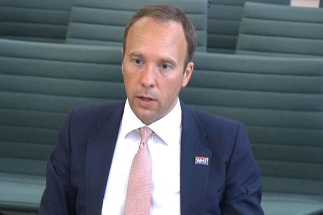 Screen grab of Health Secretary Matt Hancock giving evidence to the Science and Technology Committee and Health and Social Care Committee