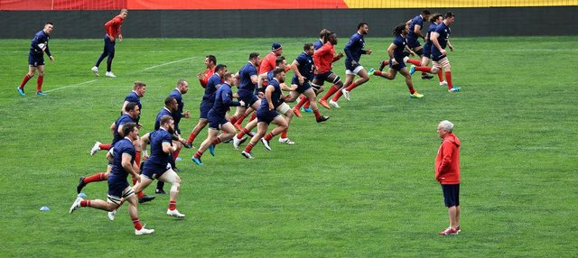 The Lions warm up during the British and Irish Lions captain's run at Emirates Airline Park. The squad has been hit by Covid.