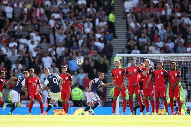 Leigh Griffiths score a brace of free kicks against England last time the two sides faced each other (Getty Images)