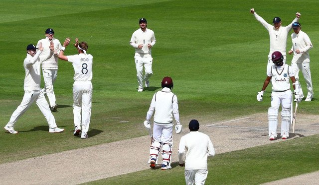 Stuart Broad celebrates taking the wicket of West Indies' Kraigg Brathwaiteon the final day of the third Test match between England and the West Indies at Old Trafford in Manchester in 2020.