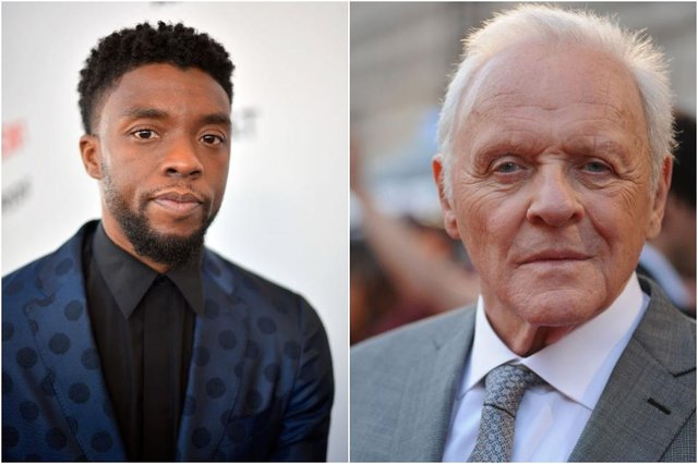 In his acceptance speech, Hopkins (right) said 'I want to pay tribute to Chadwick Boseman, who was taken from us far too early' (Photos: Getty Images)