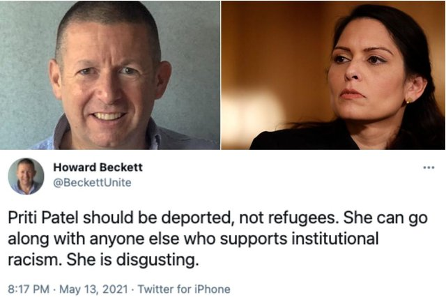 Howard Beckett: who is Unite official, what did he say about Priti Patel - and why did Labour suspend him? (Photos: Howard Beckett, Matt Dunham - WPA Pool/Getty Images)