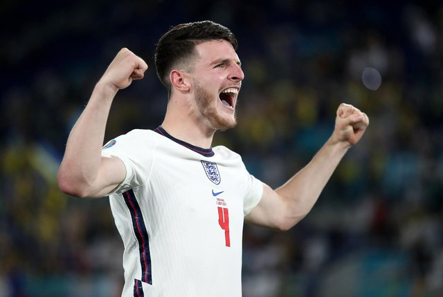 The former school of the England footballer Declan Rice could name a sports pavilion after him if the national team triumph at Euro 2020 (PA)